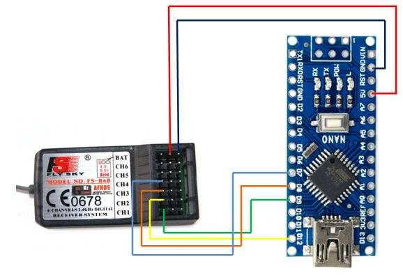 Conexionado Arduino-receptor. Arduino drone.