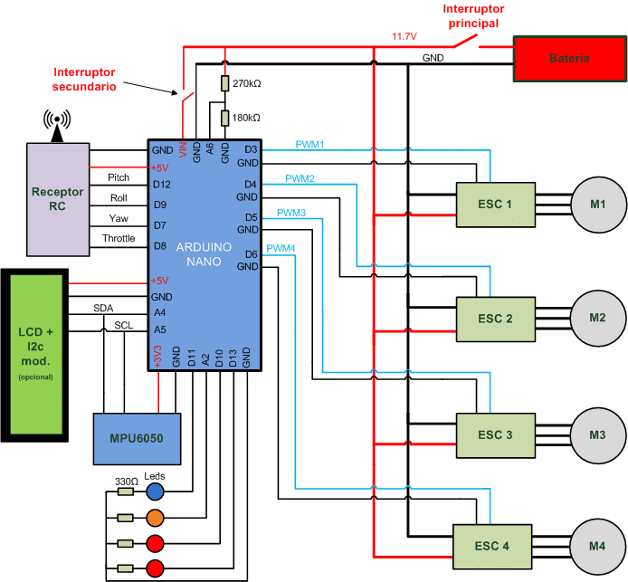 drone arduino | esquema hardware completo