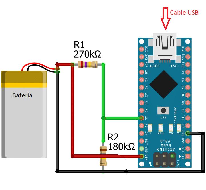 Montaje hardware para lectura de batería (drone Arduino)