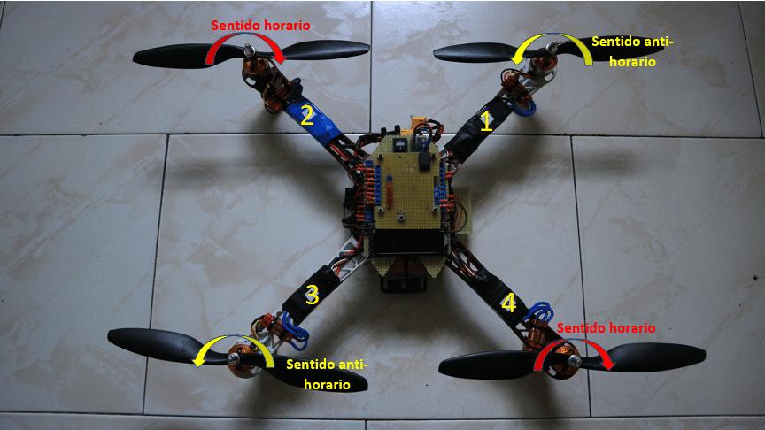 Sentido de giro de los motores. Arduino drone.