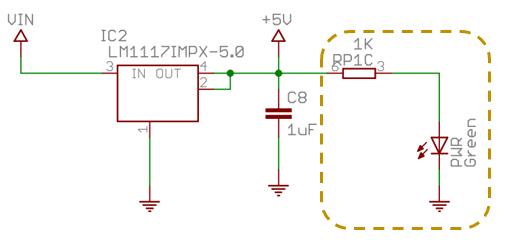 Imagen esquema Arduino Nano, led PWR.