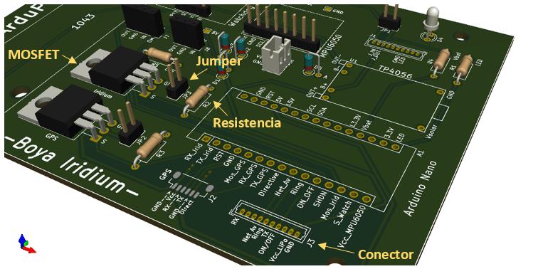 Boya Iridium con Arduino   Módulo Iridium en PCB inferior