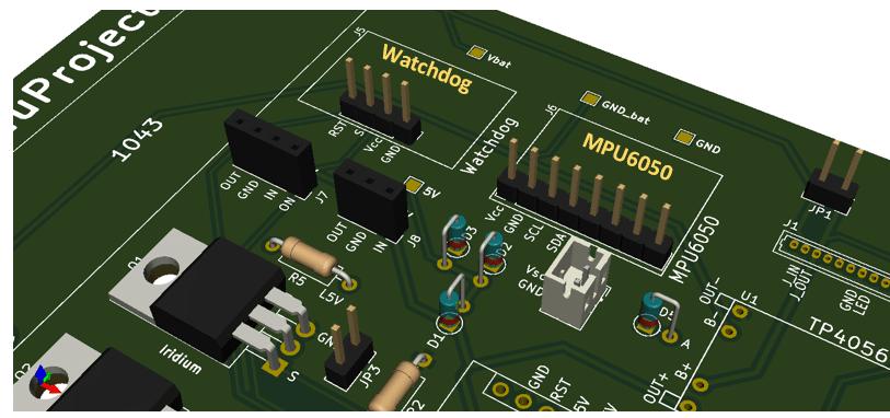 Boya Iridium con Arduino   Watchdog y MPU6050, PCB inferior