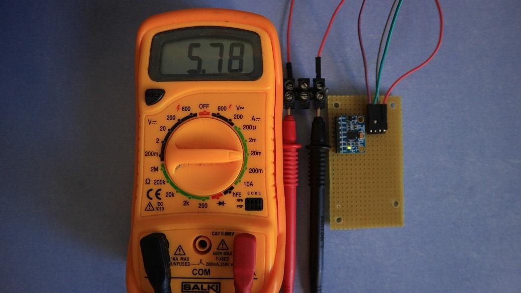 Consumo MPU6050 activo, con LED