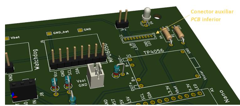 Boya Iridium con Arduino | Conector auxiliar, PCB inferior