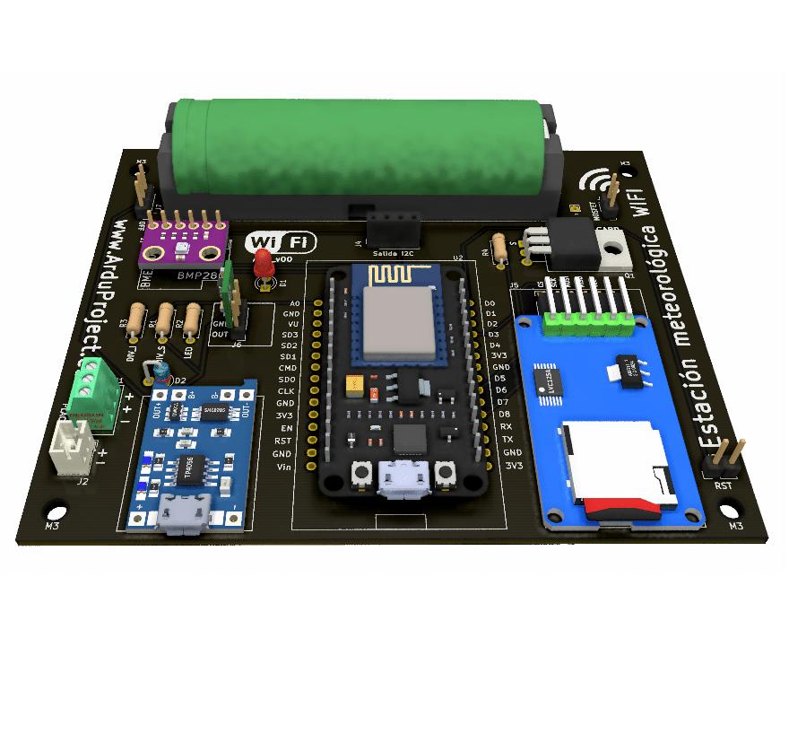 ESP12E | Arduino | Estación meteorológica Wifi solar + Thingspeak + tarjeta SD + PCB